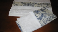 Hand Towel & Washer in Toile, Made as part of 21st gift